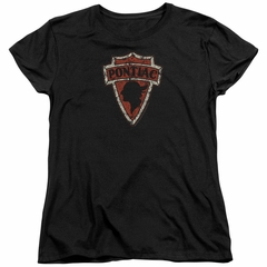Pontiac Womens Shirt Arrow Head Black T-Shirt