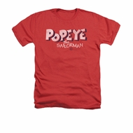 Popeye Shirt 3D Logo Adult Heather Red Tee T-Shirt