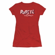 Popeye Shirt 3D Logo Juniors Red Tee T-Shirt