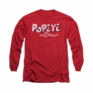 Popeye Shirt 3D Logo Long Sleeve Red Tee T-Shirt