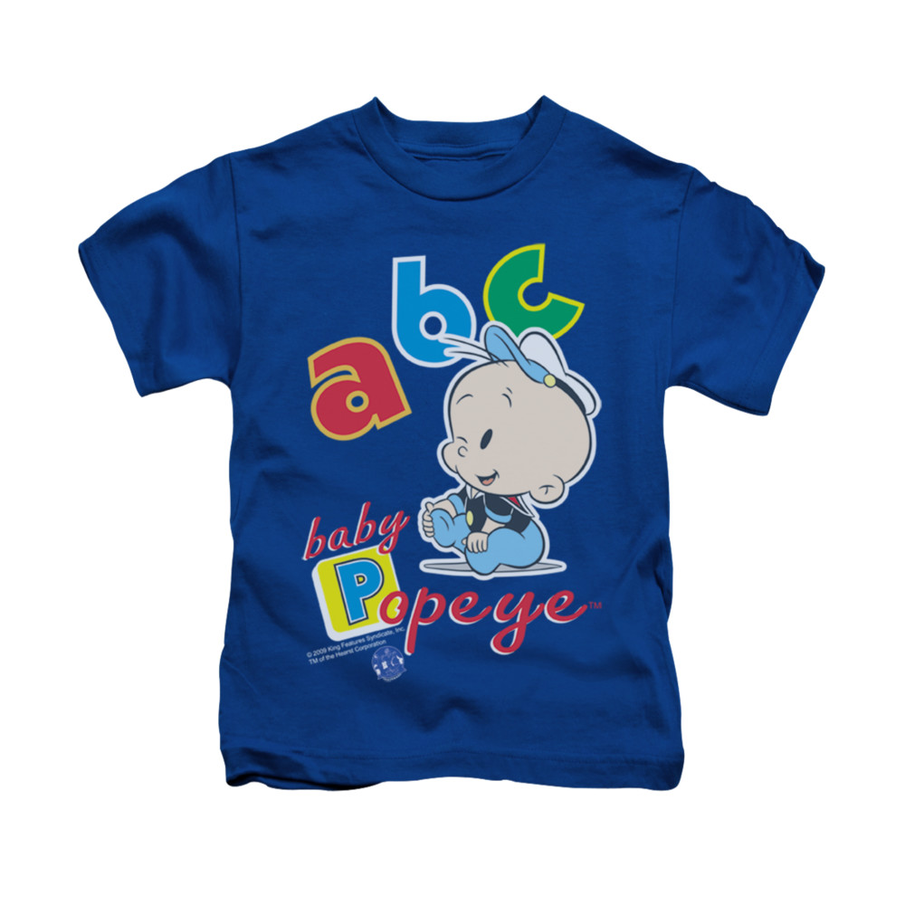 popeye shirt abc kids royal blue youth tee t shirt. Black Bedroom Furniture Sets. Home Design Ideas