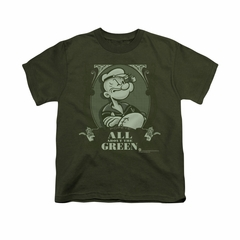Popeye Shirt All About The Green Kids Military Green Youth Tee T-Shirt