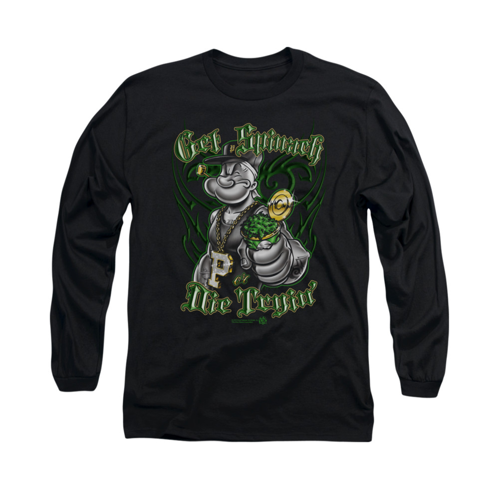 popeye shirt get spinach long sleeve black tee t shirt. Black Bedroom Furniture Sets. Home Design Ideas