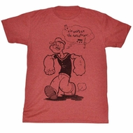 Popeye Shirt Humming A Tune Red Heather T-Shirt