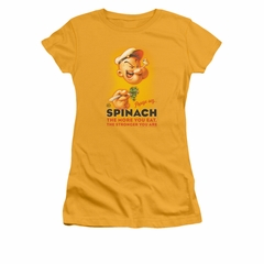 Popeye Shirt Spinach Retro Juniors Gold Tee T-Shirt