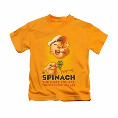 Popeye Shirt Spinach Retro Kids Gold Youth Tee T-Shirt