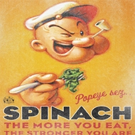 Popeye Shirt Spinach Style Adult White T-Shirt Tee