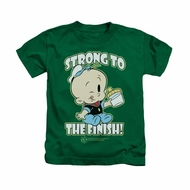 Popeye Shirt Strong To The Finish Kids Kelly Green Youth Tee T-Shirt