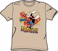 Popeye T-shirt Cartoon Pow! Funny Adult Sand Colored Tee