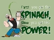 Popeye T-shirt Cartoon Spinach Power Wasabi Green Adult Tee