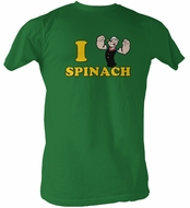 Popeye T-shirt I Love Spinach Adult Kelly Green Tee Shirt