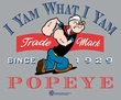Popeye T-shirt I Yam What I Yam Heather Gray Adult Tee