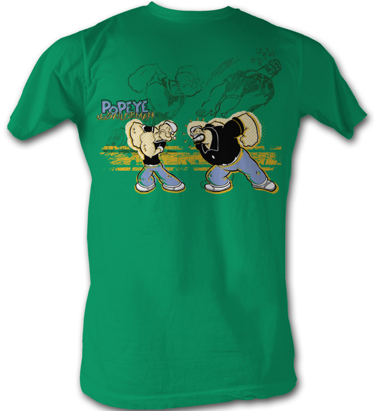 popeye t shirt popeye punch brutus adult kelly green tee. Black Bedroom Furniture Sets. Home Design Ideas