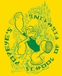 Popeye T-shirt Popeye's Fightin' School Adult Yellow Tee