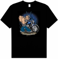 Popeye T-shirt Strong To The Finish Biker Adult Tee
