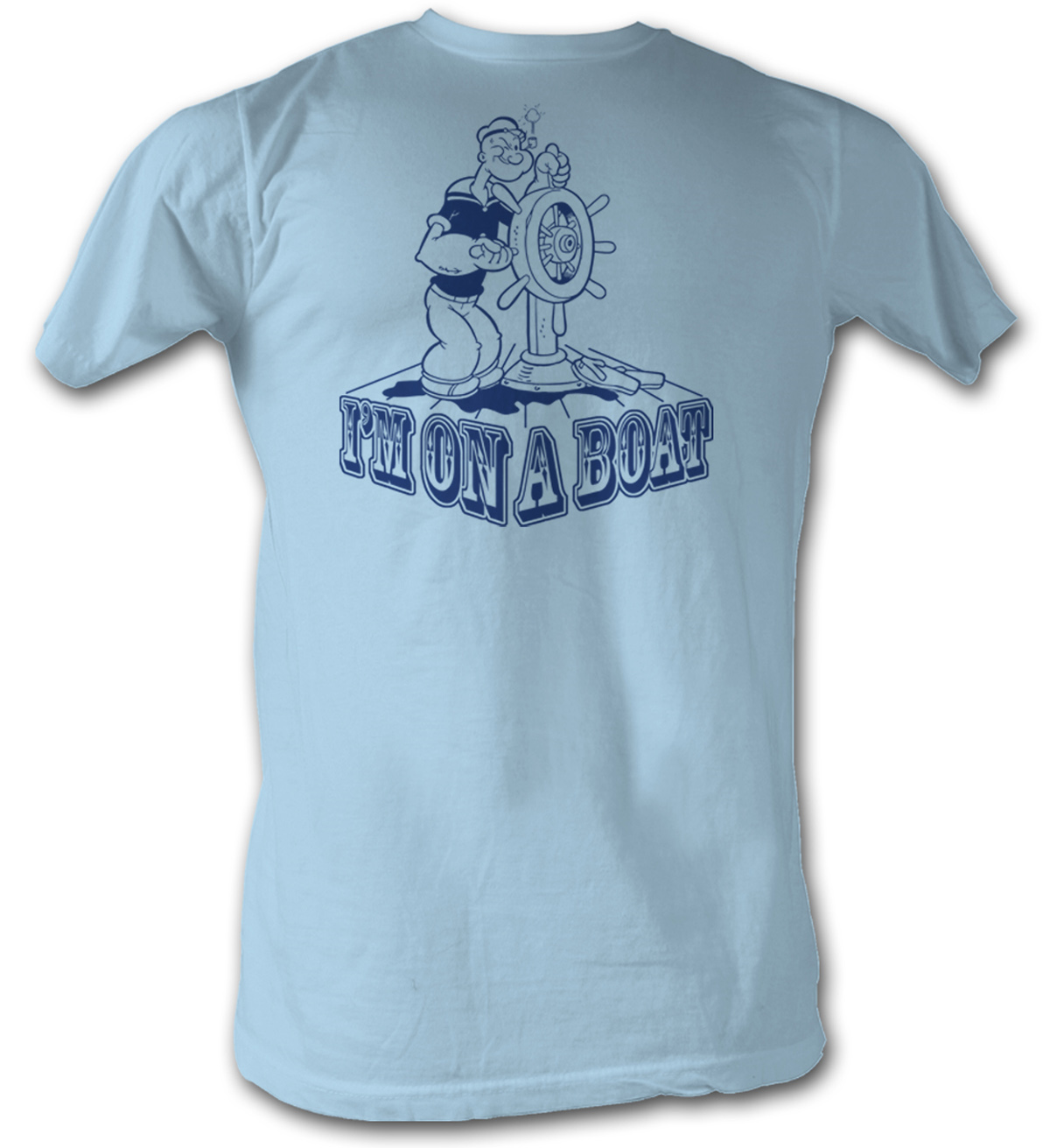popeye t shirt the sailorman im on a boat adult light blue. Black Bedroom Furniture Sets. Home Design Ideas