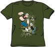 Popeye T-shirt Three Part Punch Army Green Adult Tee