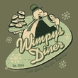 Popeye T-shirt Whimpy's Diner Funny Cartoon Adult Tee