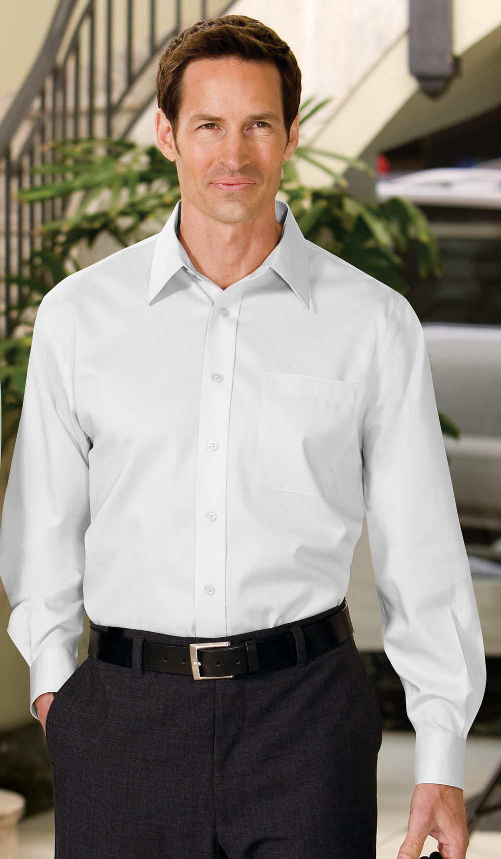 Port authority dress shirt long sleeve non iron twill for What is a non iron shirt