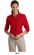 Port Authority Ladies Polo Shirt Sport Silk Touch 3/4 Sleeve