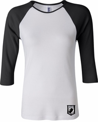 Pow Mia Patch Bottom Print Ladies Raglan Shirt
