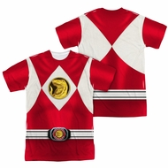 Power Ranger Shirt Red Ranger Costume Sublimation Shirt Front/Back Print