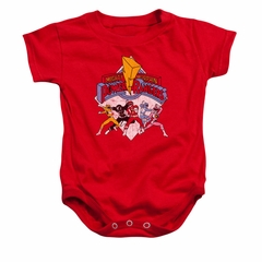 Power Rangers Baby Romper Distressed Logo Red Infant Babies Creeper