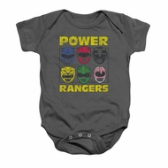 Power Rangers Baby Romper Heads Charcoal Infant Babies Creeper