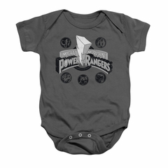 Power Rangers Baby Romper Power Coins Charcoal Infant Babies Creeper