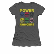 Power Rangers Shirt Juniors Heads Charcoal T-Shirt