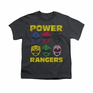 Power Rangers Shirt Kids Heads Charcoal T-Shirt