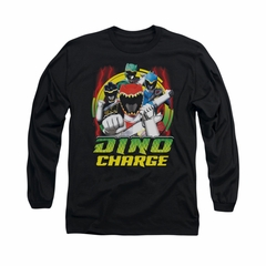 Power Rangers Shirt Red Lightning Long Sleeve Black Tee T-Shirt