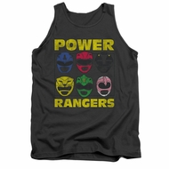 Power Rangers Shirt Tank Top Heads Charcoal Tanktop