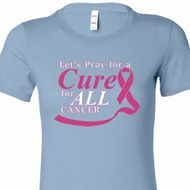 Pray for a Cure Ladies Breast Cancer Awareness Shirts