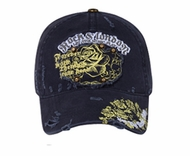 Printed Roses Hat with Rivets - Distressed Patch Lackpard Cap - Navy