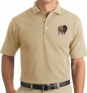 Proud Buffalo Mens Rugged Polo Shirt - Stone Color