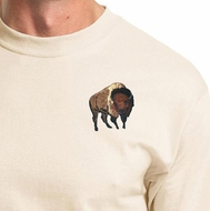 Proud Buffalo Patch Mens Shirt - Natural Color Wildlife Tee