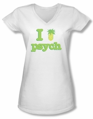 Psych Shirt Juniors V Neck I Like Psych White Tee T-Shirt