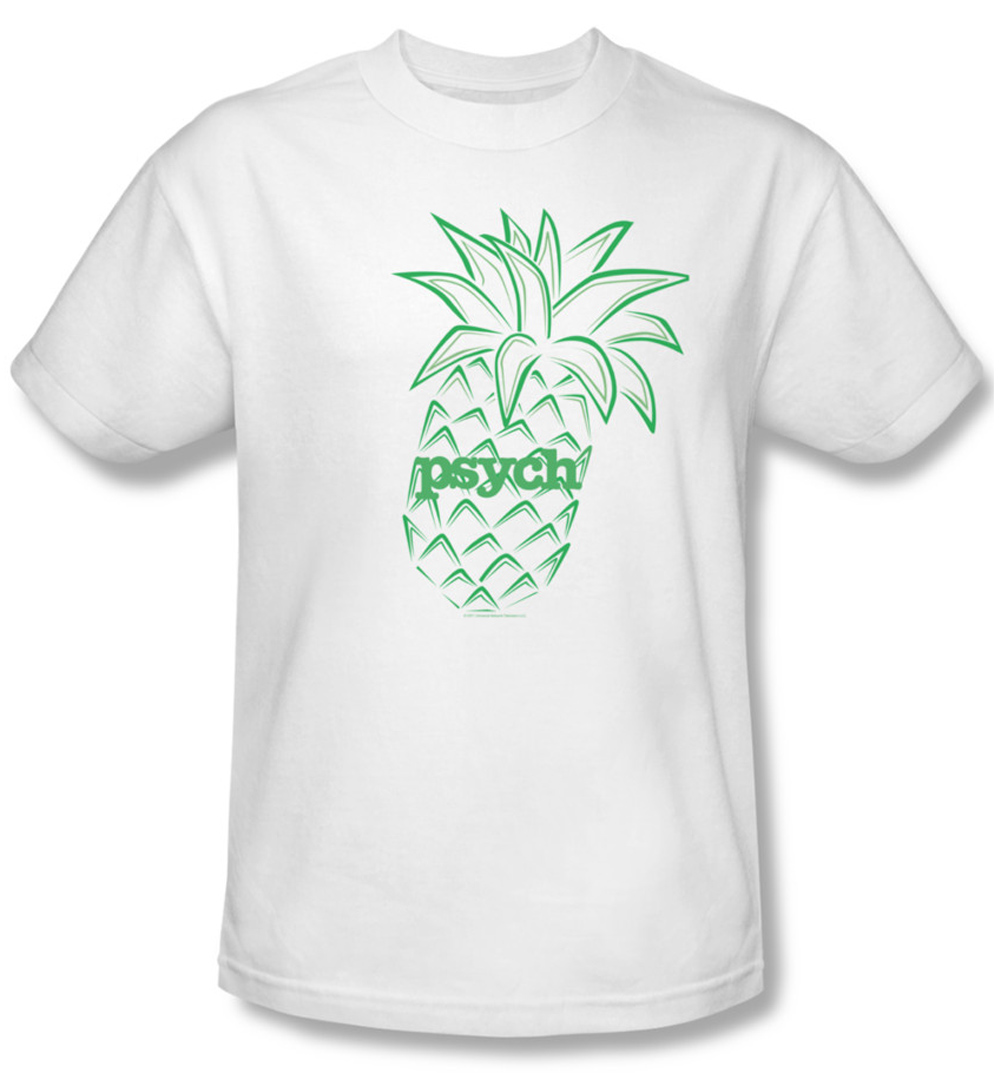 psych shirt pineapple adult white tee t shirt psych. Black Bedroom Furniture Sets. Home Design Ideas
