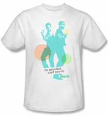 Psych Shirt Predict And Serve Adult White Tee T-Shirt