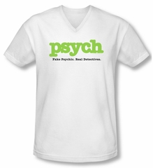 Psych Shirt Slim Fit V Neck Title White Tee Shirt
