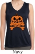 Pumpkin Skeleton Ladies Sleeveless Moisture Wicking Shirt
