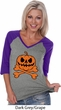 Pumpkin Skeleton Ladies Three Quarter Sleeve V-Neck Raglan Shirt