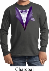 Purple Tuxedo Kids Long Sleeve Shirt