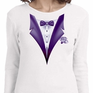 Purple Tuxedo Ladies Long Sleeve Shirt