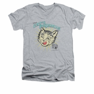 Puss N Boots Shirt Slim Fit V-Neck Cat's Pajamas Athletic Heather T-Shirt