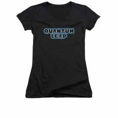 Quantum Leap Shirt Juniors V Neck Logo Black T-Shirt