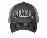 Racing Embroidered 3D Hat - Mesh Lined Front Lackpard Cap - Gray
