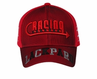 Racing Embroidered 3D Hat - Mesh Lined Front Lackpard Cap - Red
