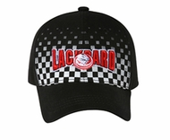 Racing Pattern 3D Lackpard Hat - Checkered Front Panel Cap - Black